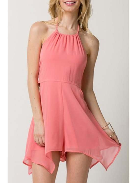outfits Chiffon Open Back Lace-Up Pink Romper - PINK S