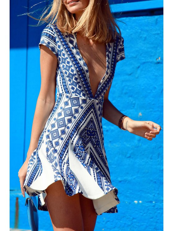 best Vintage Print Blue Cap Sleeve Deep V Neck Dress - AS THE PICTURE S