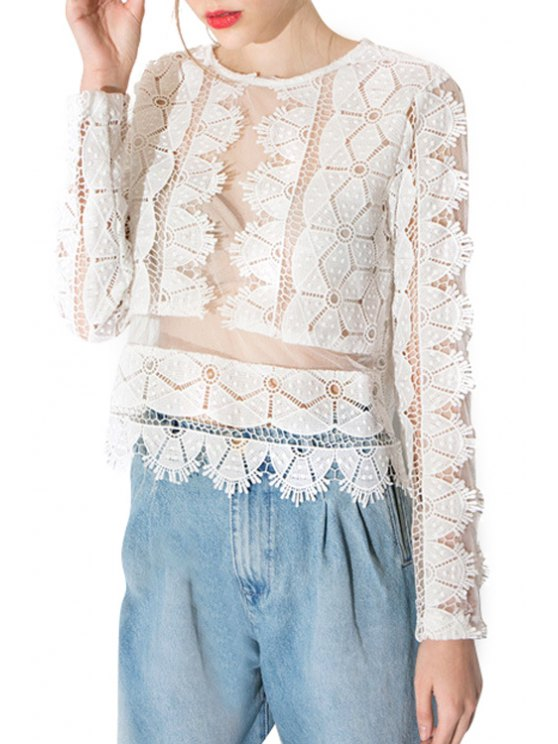 outfits Long Sleeve Lace See-Through T-Shirt - WHITE S