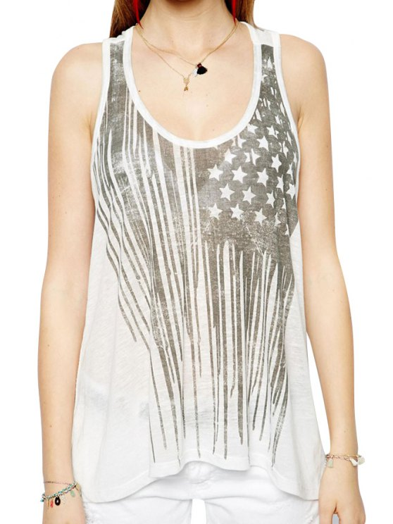 online Star Print Scoop Neck Tank Top - OFF-WHITE S