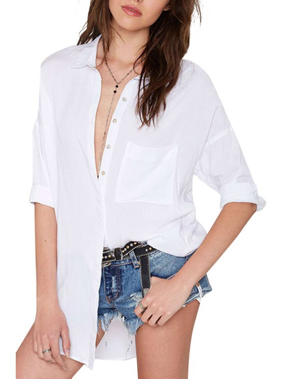 buy White Shirt Neck Half Sleeve Shirt - WHITE S