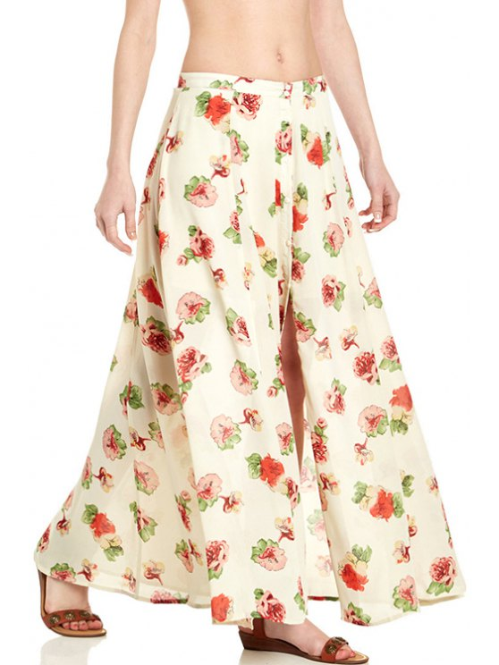 women Floral Print Button Fly Long Skirt - OFF-WHITE S