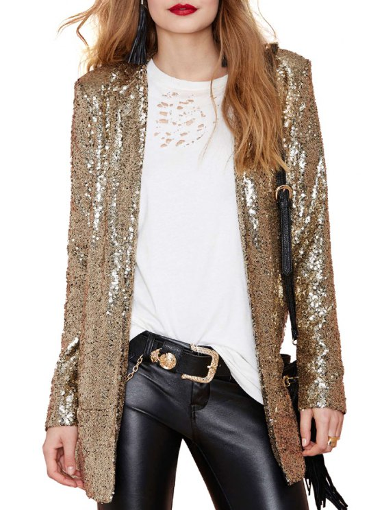 fancy Lapel Solid Color Sequins Long Sleeve Blazer - GOLDEN S