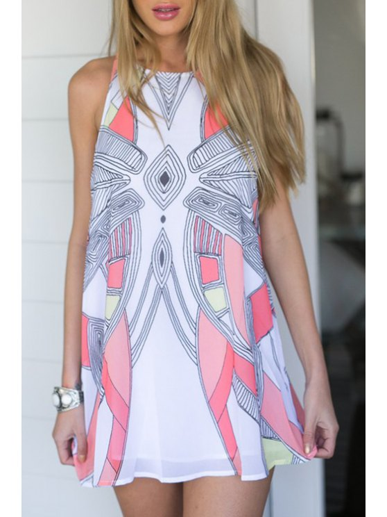 new A-Line Abstract Print Chiffon Dress - WHITE S