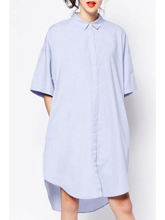 affordable Solid Color High Low Half Sleeve Dress - LIGHT BLUE S