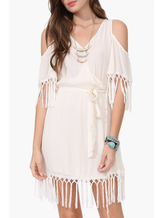 womens Solid Color Tassel Splicing Short Sleeve Dress - WHITE XL