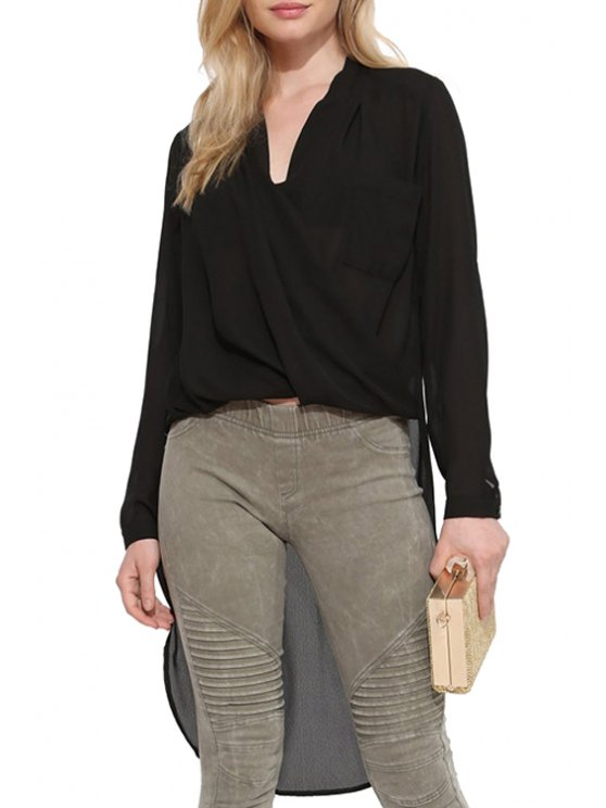 shops Black Chiffon V Neck Long Sleeve Blouse - BLACK S