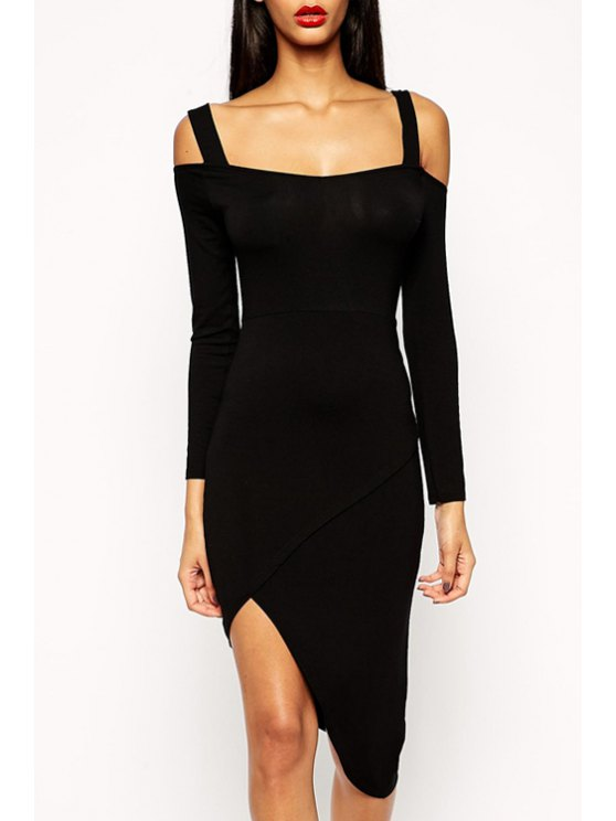 latest Backless Black Asymmetrical Long Sleeve Dress - BLACK S