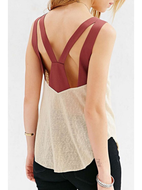 ladies V-Neck Backless Color Block Tank Top - OFF-WHITE XL