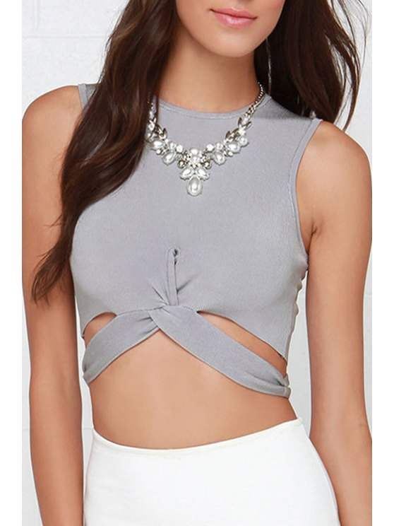 unique Gray Cut Out Round Neck Crop Top - GRAY S
