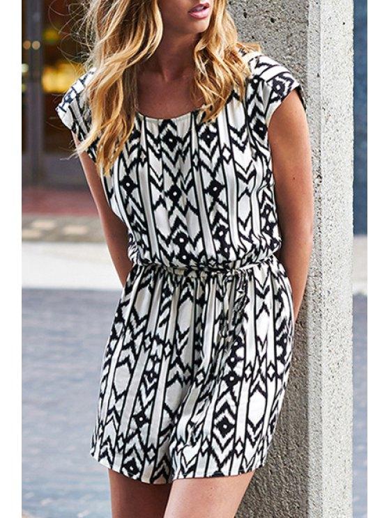 trendy Argyle Pattern Backless Short Sleeve Dress - WHITE AND BLACK 2XL
