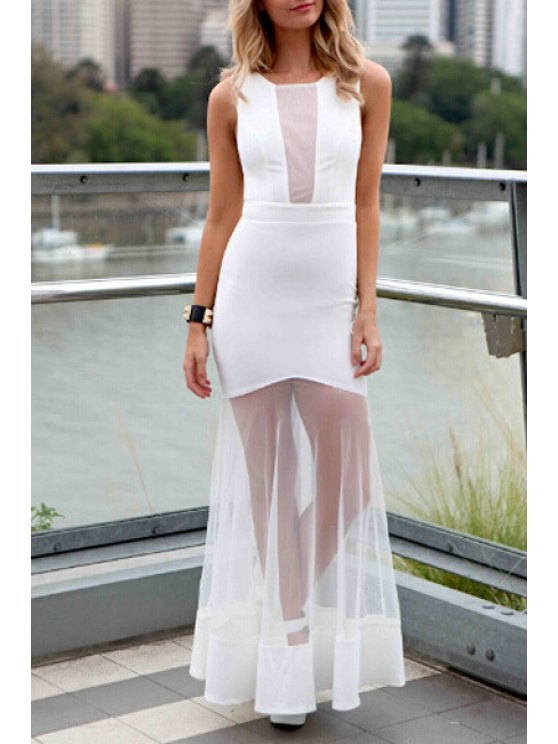 online Solid Color See-Through Fishtail Dress - WHITE S