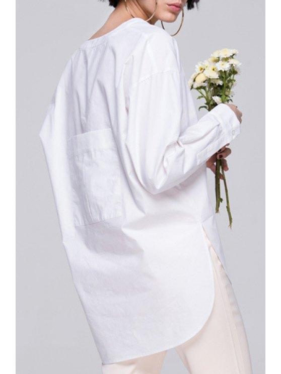 shops White Back Pocket Asymmetrical Long Sleeve Shirt - WHITE S