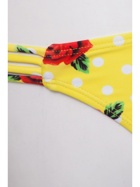 Floral Print Underwire Bathing Suit - YELLOW L Mobile
