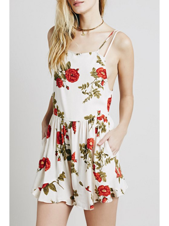 outfit Floral Print Open Back Ruffled Playsuit - WHITE XS