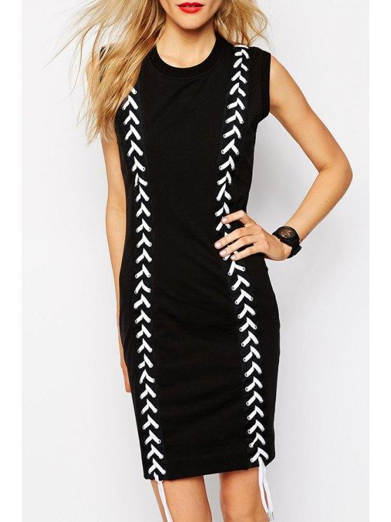 lady White Rope Cross Sleeveless Dress - BLACK S