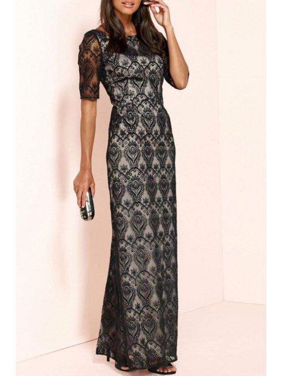 ladies Black Lace Backless Short Sleeve Dress - BLACK 2XL