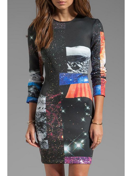sale Galaxy Print 3/4 Sleeve Dress - AS THE PICTURE M