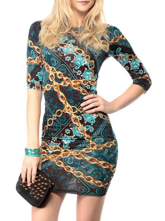 buy Chain Print 3/4 Sleeve Dress - BLACKISH GREEN M