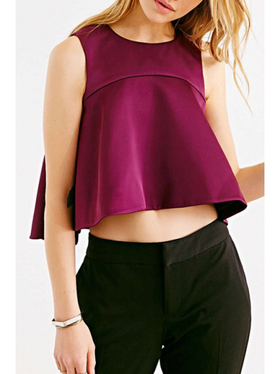 outfits Jewel Neck Solid Color Back Zipper Tank Top - PURPLISH RED S