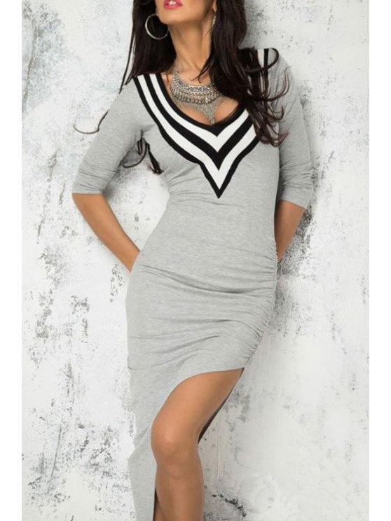 lady Striped Spliced V Neck 3/4 Sleeve Dress - GRAY ONE SIZE(FIT SIZE XS TO M)