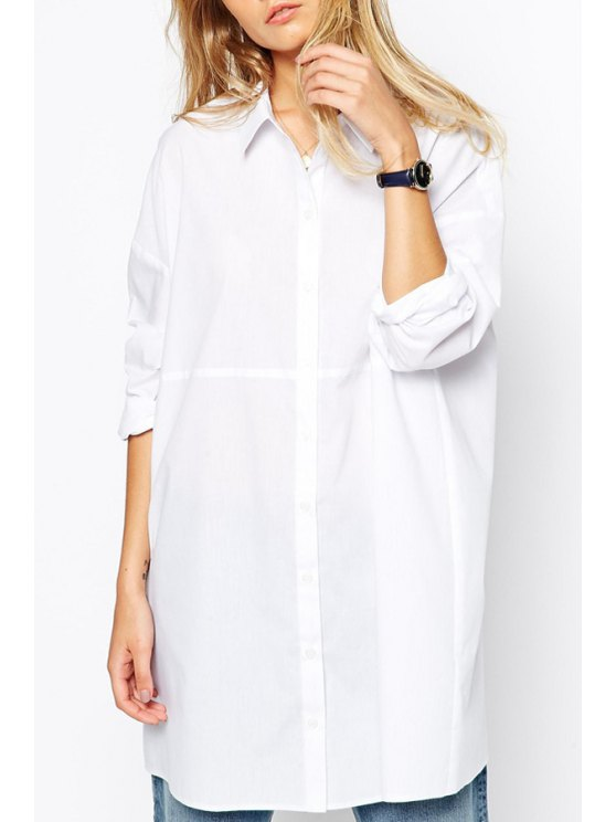 fashion Polo Collar Solid Color Shirt Dress - WHITE S