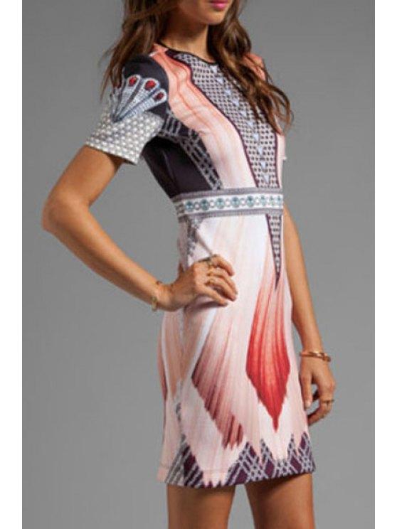 womens Vintage Print Short Sleeves Dress - COLORMIX M