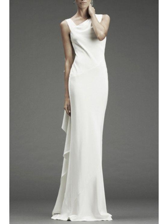 ladies White Ruffles V Neck Sleeveless Maxi Dress - WHITE ONE SIZE(FIT SIZE XS TO M)