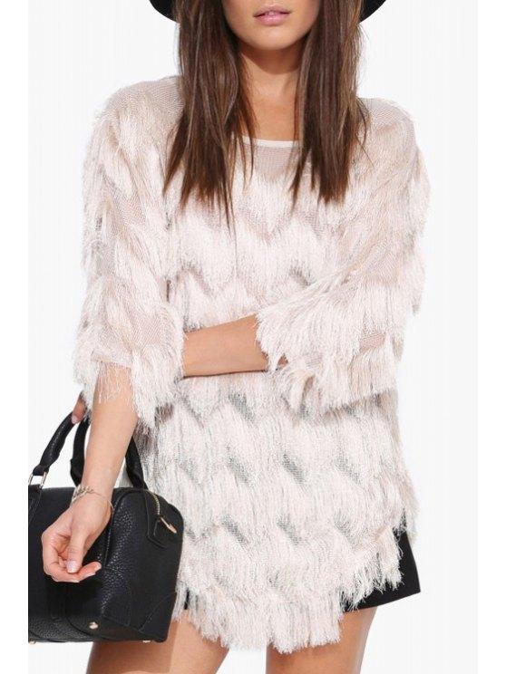 sale Multi-Layered Fringe 3/4 Sleeve T-Shirt - WHITE S