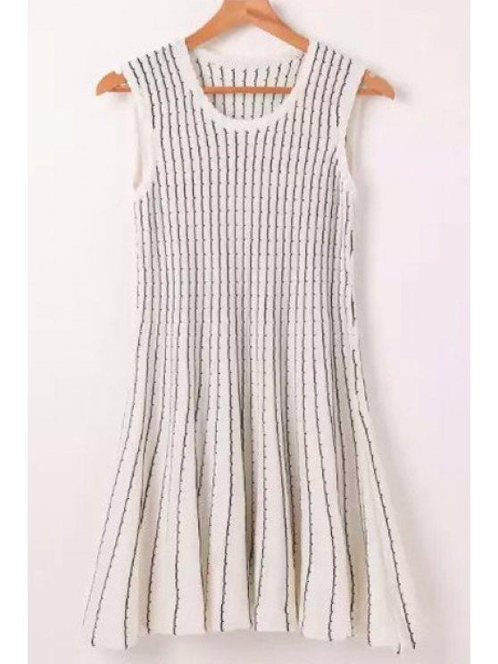 shop Jewel Neck Black White Stripe Sleeveless Dress - WHITE ONE SIZE(FIT SIZE XS TO M)
