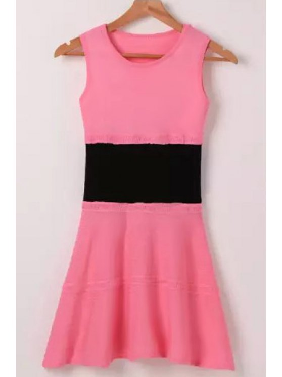 fashion Pink Black Splicing Sleeveless Dress - PINK ONE SIZE(FIT SIZE XS TO M)