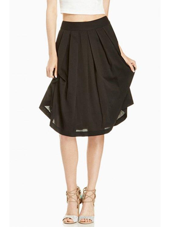 shops Solid Color A Line Midi Skirt - BLACK S