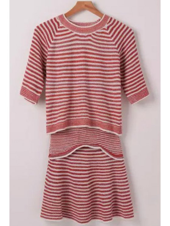 lady Red White Stripe Half Sleeve Sweater + Skirt - RED ONE SIZE(FIT SIZE XS TO M)