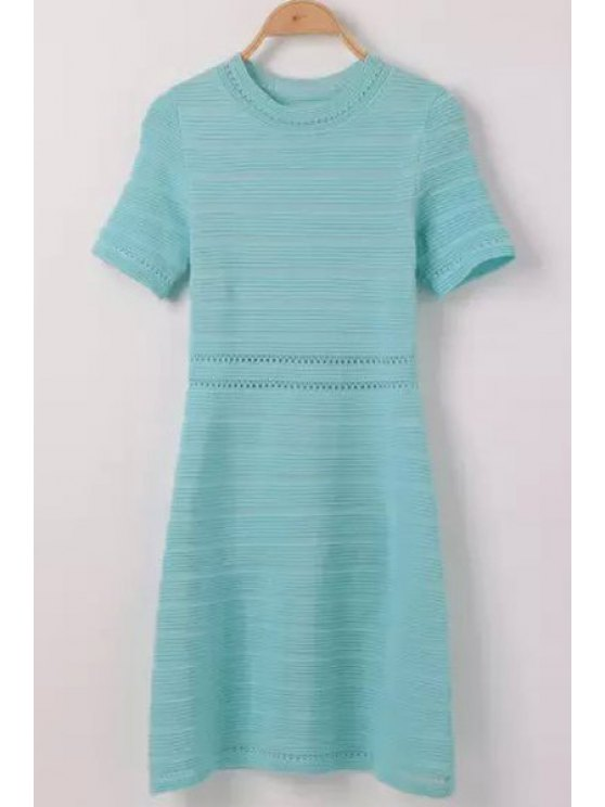 buy Openwork Solid Color Short Sleeve Dress - BLUE ONE SIZE(FIT SIZE XS TO M)