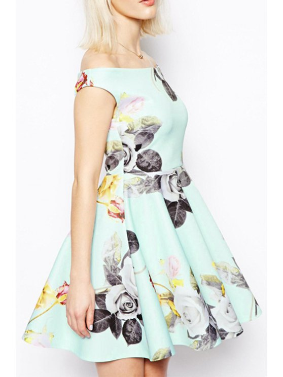 women's Floral Print Slash Neck Flare Dress - LIGHT GREEN S