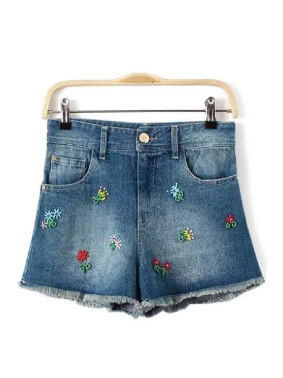 shop Colorful Bead Embellished Zipper Fly Shorts - LIGHT BLUE S