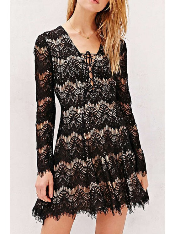 online Lace Plunging Neck Long Sleeve Flare Dress - BLACK S
