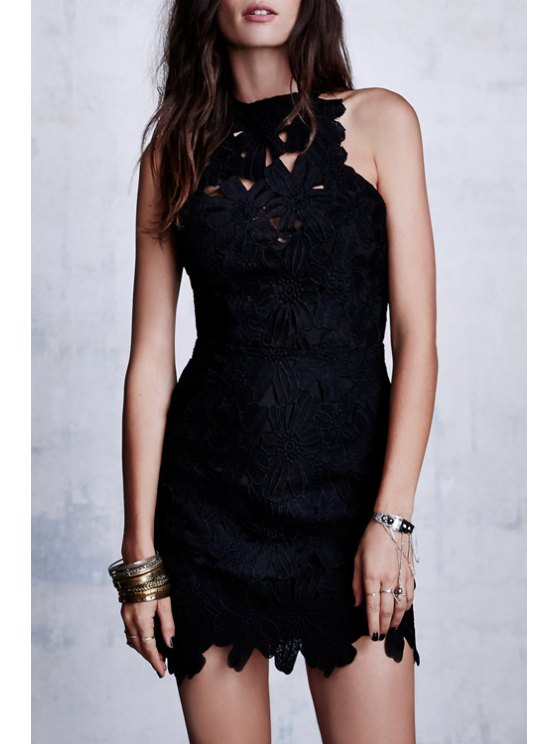 sale Solid Color Backless Packet Buttocks Lace Dress - BLACK S