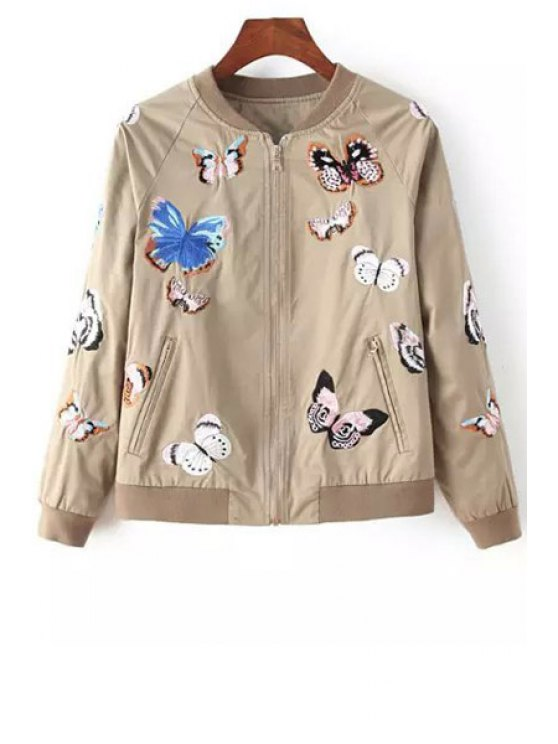 latest Butterfly Embroidery Long Sleeve Coat - KHAKI S