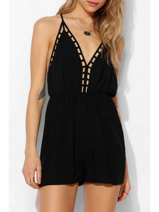 womens Spaghetti Strap Backless Black Playsuit - BLACK S