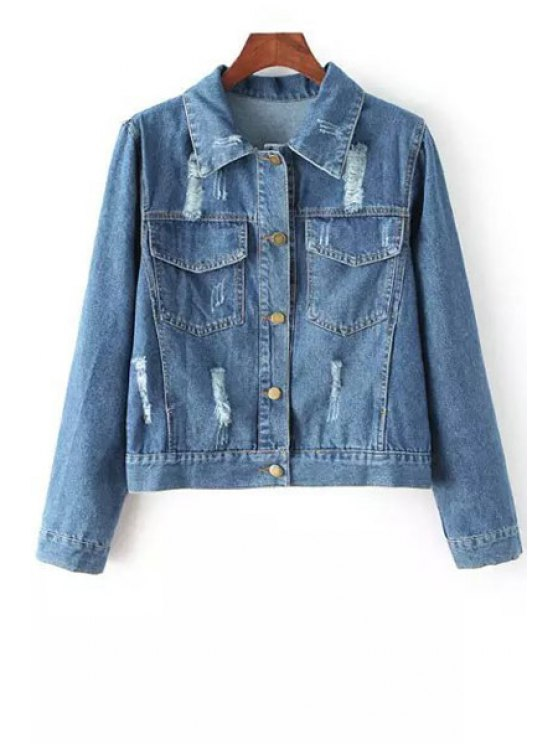 chic Back Letter Pattern Denim Long Sleeve Coat - BLUE ONE SIZE(FIT SIZE XS TO M)