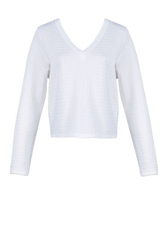 women Plaid Solid Color Long Sleeve T-Shirt - WHITE S