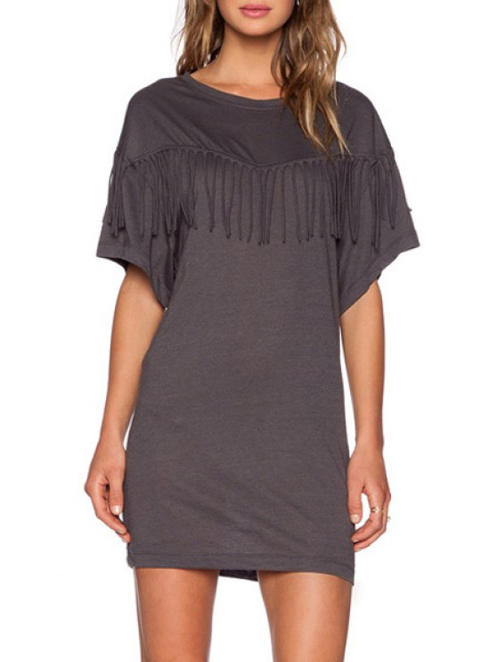 shop Bat-Wing Sleeve Tassels Spliced Gray Mini Dress - DEEP GRAY S