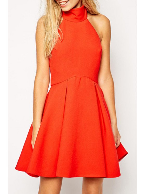 affordable Solid Color Backless Ruffled A-Line Dress - JACINTH S