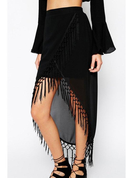 womens Black Chiffon Tassels High Waisted Skirt - BLACK XL