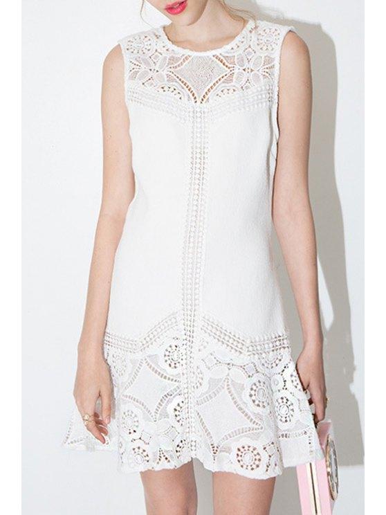 shops Lace Spliced A-Line White Dress - WHITE 2XL