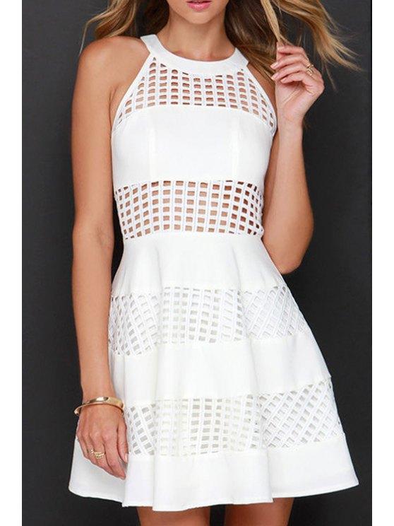 women's White Hollow Sleeveless Flare Dress - WHITE 2XL
