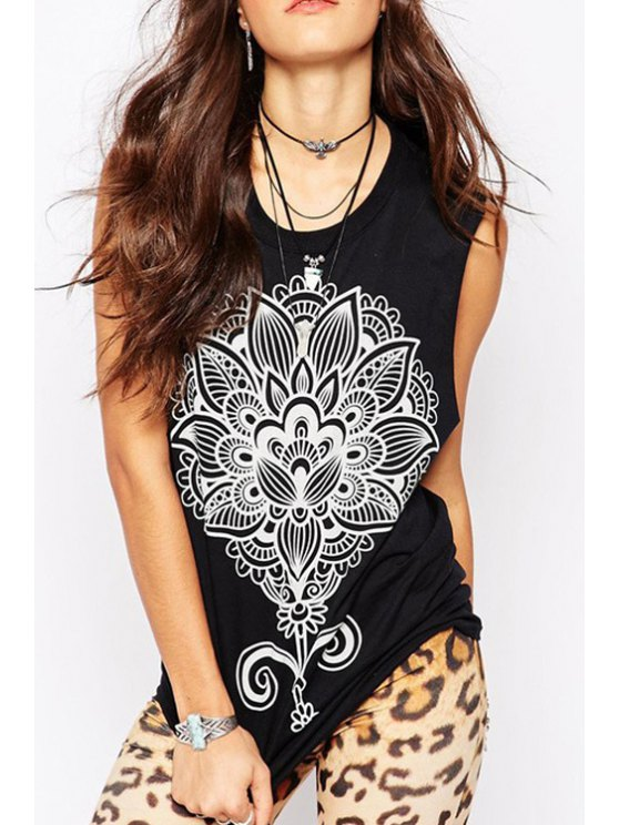 shops Flower Print Jewel Collar Tank Top - BLACK S
