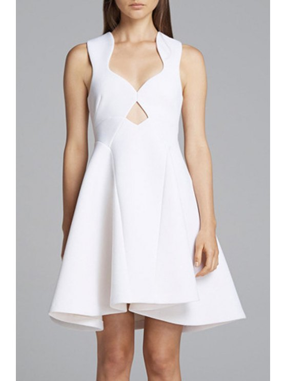lady Open Back A-Line Space Cotton Dress - WHITE 2XL
