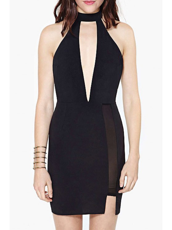 outfit Black Bodycon Hollow Sleeveless Dress - BLACK S